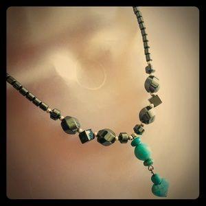 Hematite Black & Turquoise Drop'd Heart Necklace